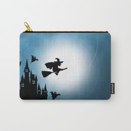 Blue Halloween Witch Silhouette Carry-All Pouch