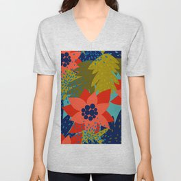 Colorful hand painted abstract brushstrokes floral pattern Unisex V-Neck