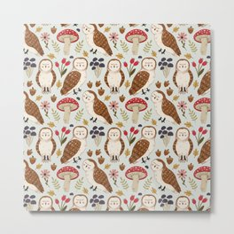 Woodland Owls Pattern Metal Print