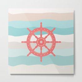 AFE Coral Helm Wheel, Nautical Art Metal Print