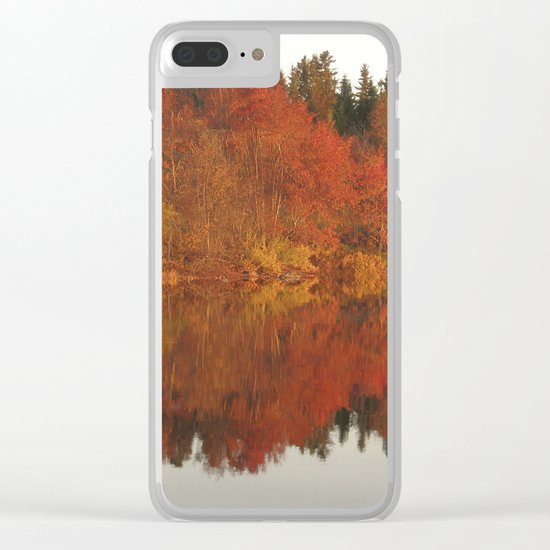 Colorful autumn trees reflection in the lake Clear iPhone Case
