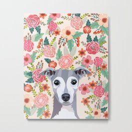 Italian Greyhound floral pet portrait wall art and gifts for dog breed lovers Metal Print