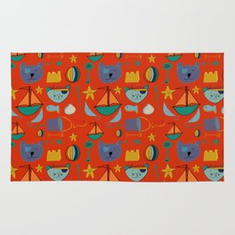 cat and bear pirate red Rug