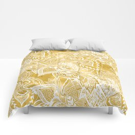 Modern lemon curry watercolor floral hand drawn pattern Comforters