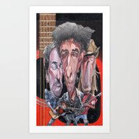 springsteen Art Prints featuring Dylan, Springsteen, and Young by Alan Carlstrom