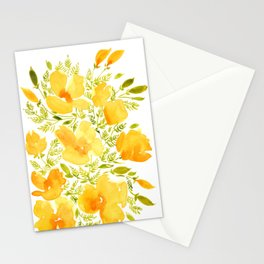 Watercolor California poppies (Quad set, #2) Stationery Cards