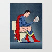 superheros Canvas Prints featuring Superhero On Toilet by WyattDesign