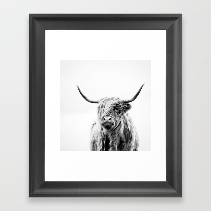 Portrait of a highland cow framed art print by doritfuhg for Wall art pictures
