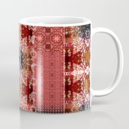 Boho Red Patchwork and Celestial Hippie Pattern Coffee Mug