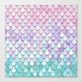 Mermaid Pastel Pink Purple Aqua Teal Canvas Print