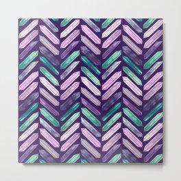 Love More Crystals Collection in Purple Chevron - Amethyst, Rose Quartz, Emerald Calcite, Rainbow Metal Print