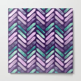Love More Crystals Collection in Purple Chevron - Amethyst, Rose Quartz, Emerald Calcite, Rainbow Metal Print