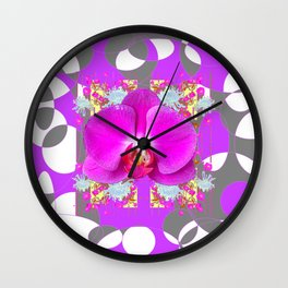 Modern Art Lilac-White Orchid Grey Patterns Wall Clock