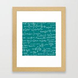 Math Equations // Teal Framed Art Print