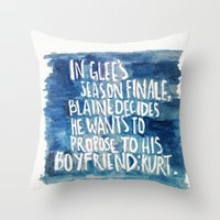 klaine Throw Pillows featuring klaine stan 4eva by Tiny M