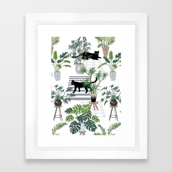cats in the interior pattern Framed Art Print