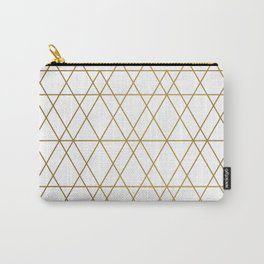 Geometric: White and Gold Carry-All Pouch