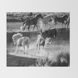 Hijinks at the Waterhole bw Throw Blanket