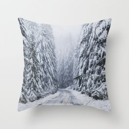 Snowy Oregon Forest Roads Throw Pillow