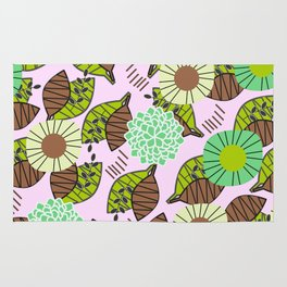 Atypical leaves and flowers Rug