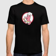 Pig Chef Cook Holding Bowl Cartoon SMALL Black Mens Fitted Tee