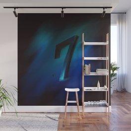 Number seven in Blue, Black, Design Wall Mural