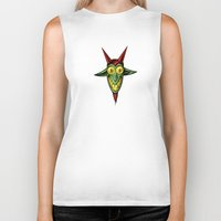 baphomet Biker Tanks featuring Happy Baphomet by Lowell Isaac
