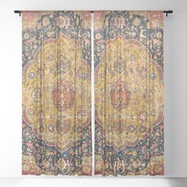 Indian Boho III // 16th Century Distressed Red Green Blue Flowery Colorful Ornate Rug Pattern Sheer Curtain