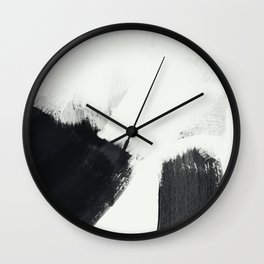 brush stroke black white painted II Wall Clock