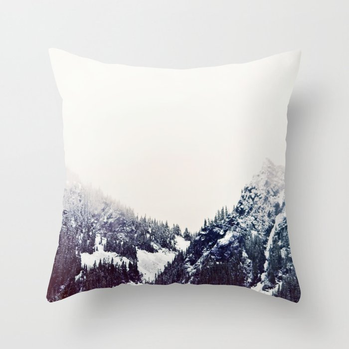 Vintage Looking Throw Pillows : Vintage Snowy Mountain Throw Pillow by kurtrahn Society6