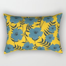 Blue Flowers with Banana Leaves with Yellow Rectangular Pillow