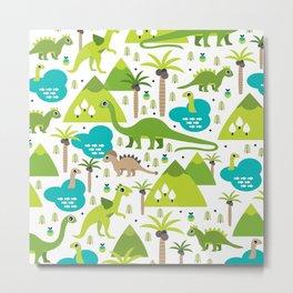 Dinosaur illustration pattern print Metal Print