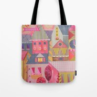 home sweet home Tote Bags featuring home by Jill Howarth