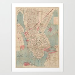 Vintage Map of Boston MA (1882) Art Print