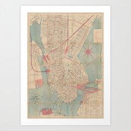 Vintage Map of Boston MA (1882) Art Print