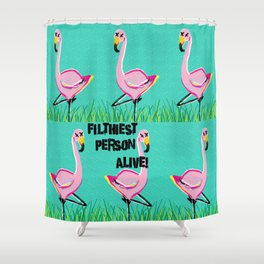 PINK FLAMINGO FILTH Shower Curtain