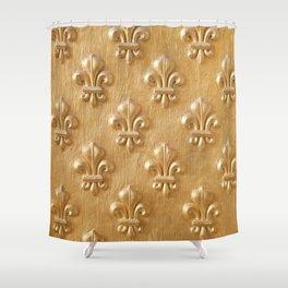 Golden Fleur de lys wood wall Shower Curtain