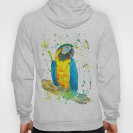 Blue & Gold Macaw - Watercolor Painting Hoody