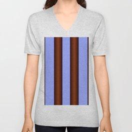 Bright Blue Brown Stripes Background Unisex V-Neck