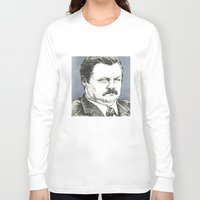 ron swanson Long Sleeve T-shirts featuring Ron Swanson by Molly Morren