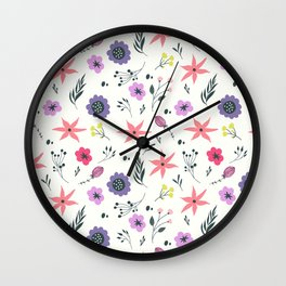 Abstract coral purple violet vector floral pattern Wall Clock