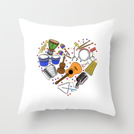"""When """"No Music No Life"""" Tee """" With Illustration Of Musical Instruments T-shirt Design White Musician Throw Pillow"""