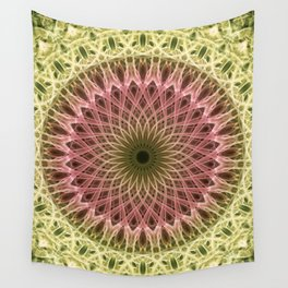Detailed mandala in gold and red ones Wall Tapestry
