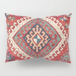 White Hooked Diamond // 19th Century Authentic Simple Colorful Aztec Accent Pattern Pillow Sham