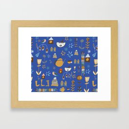 hygge cat and bird blue Framed Art Print