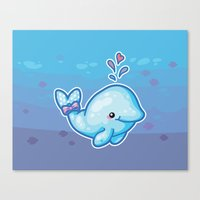 polkadot Canvas Prints featuring PolkaDot Whale by Byte Size Treasure