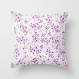 Little Purple and Pink Flowers Throw Pillow