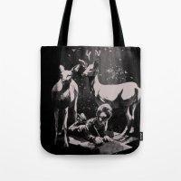 dad Tote Bags featuring Deer Dad by SPYKEEE