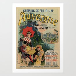Vintage Auvergne French travel advertising Art Print