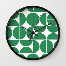 Mid Century Modern Geometric 04 Green Wall Clock